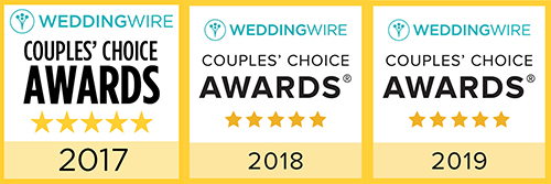 WeddingWire award badges from 2017 to 2019